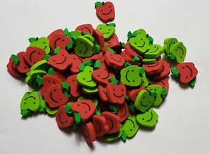 Lot of 40 Mini Red & Green Apple Happy Smiley Face Rubber Pencil Eraser Small