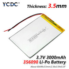 3.7V 3000mAh Li-Po Rechargeable Battery 356090 For MP4 MP5 DVD GPS PAD Tablet 8