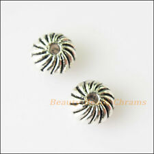 30 New Flower Round Flat Charms Tibetan Silver Tone Spacer Beads 6mm
