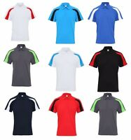 Men's Contrast Cool Polo Shirt Breathable Wickable Gym Training Running Sports