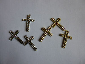 20 x Gold Mini Cross  17 mm x 25 mm, Cards, Boxes, Cakes