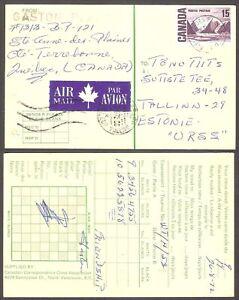 Schach Echecs Chess correspondence Canada postcard gone post 1972