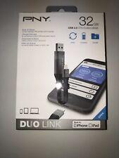 NEW PNY 32GB USB 3.0 OTG Flash Drive Duo Link for Apple iPhone & iPad