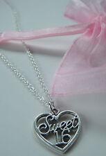 Sweet 16 Encanto Colgante Collar 16th Regalo De Cumpleaños En Bolsa De Organza Regalo Freepost