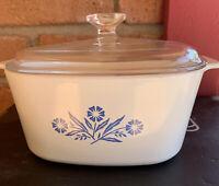 Corning Ware Blue Cornflower 3 Liter A-3-B Casserole Dish with Glass Pyrex Lid