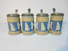 Four Mettlach Beer Stein Tankard 171 Cameo Relief People Dog Date 1895 & 1896