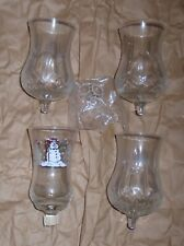 Vintage Homco Clear Hurricane Style Votive Candle Holders Set of 4 Nos F/S