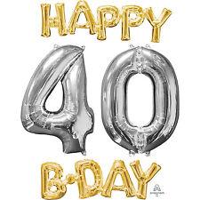 40th Feliz Cumpleaños Globo de la hoja frase & número de plata y oro edad 40 Decoración