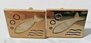Vintage Men's Cufflinks Swank Metal & White Stone Fish Inlay