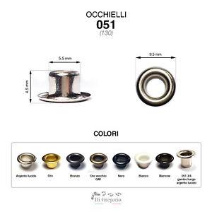 Occhielli 051 foro Ø 5,5mm Ferro/Ottone 100 pz per borse scarpe stoffa cuoio
