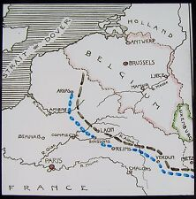 Glass Magic Lantern Slide WAR MAP POSITION AFTER THE BATTLE OF THE AISNE WW1