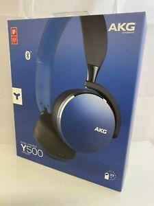 AKG by Harman - Y500 - Foldable Bluetooth Wireless Headphones - Marine Blue- New
