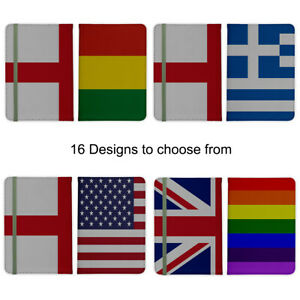 Mixed Multi National Flags Passport Holder Faux Leather Cover Case