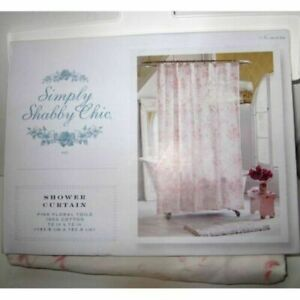 GUC SIMPLY SHABBY CHIC  72 x 72 PINK FLORAL TOILE SHOWER CURTAIN