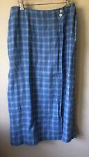 Talbots Petites Blue Plaid Irish Linen Long Wrap Skirt Size 12 Women's MINT