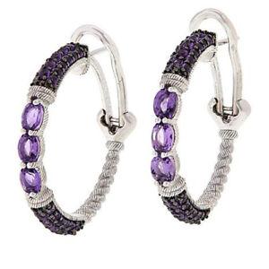 HSN Judith Ripka Sterling Silver Amethyst Hoop Earrings $459