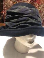 Vintage Eric Javits Navy Blue Wool Felt Deco Flapper Style Hat