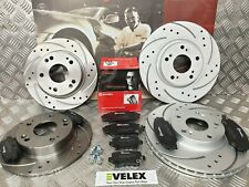 FRONT & REAR DRILLED GROOVED BRAKE DISCS & BREMBO PADS HONDA CIVIC TYPE R FN2