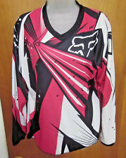FOX RACING tee XL motocross BMX jersey Pink & Black women's V-neck longsleeves