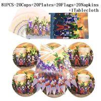 81pcs Son Goku Theme Party Tableware Supplies Disposable Set Birthday Boy Girl