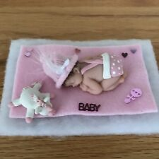 2.5 IN MINIATURE OOAK POLYMER CLAY BABY DOLL With SLEEPING UNICORN