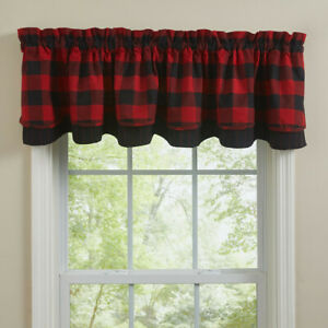 """1 Wicklow Red Black Check Country Lined Layered Valance 72"""" x 16"""""""