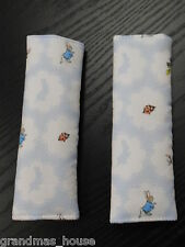 Peter Rabbit Blue Padded Baby Seat Belt Strap Covers Car Highchair Stroller