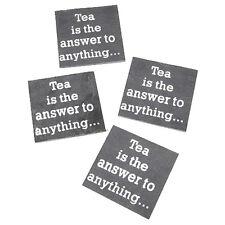 SHABBY CHIC - SLATE COASTERS x 4 - Tea is the answer - NEW