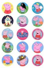 Peppa Pig BADGE Metal Button Party Favour Lolly Bag Loot Birthday Card Princess