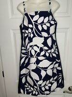 Tommy Hilfiger Navy Blue White Floral Cotton Strappy Sun Dress Sz 8