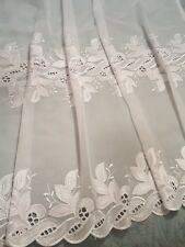 SCROLL DESIGN LUXURY EMBROIDERED VOILE NET  MADE TO MEASURE CURTAINS WHITE
