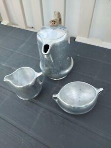VINTAGE Picquot Ware AluminIum Art Nouveau Style Three Piece Tea / Coffee Set