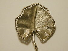 Brooch B.S.K preown leaf design  metal 1 3/4 x 2 inches tall gold no stone