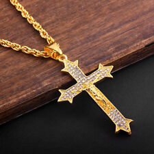 """Unisex 27.6"""" Gold Tone Sweater Chain Crystal Inlaid Jesus Cross Pendant Necklace"""