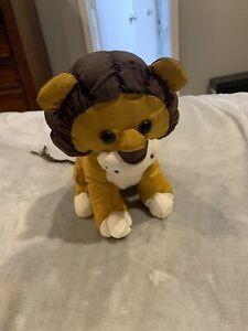 """Vintage 80's Wild Puffalump Style Lion Nylon Plush Toy 10"""" Brown"""