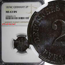 Germany - Empire Wilhelm I Copper 1874-C 2 Pfennig NGC MS63 BN Nice Glossy KM# 2