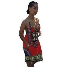 US Women Lady African Dress Straight Casual Print Kaftan Long Sleeve Dress S
