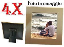 4 Cornici per foto formato 13x13 con bordo in alluminio colore oro - Frame