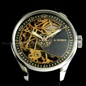 Vintage Men's Wristwatch Stainless Steel Skeleton SCHILD Mens Wrist Watch Swiss