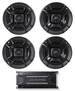 """ALPINE KTA-30FW 600 Watt 4-Channel Amplifier Amp+(4) Polk Audio 5.25"""" Speakers"""