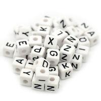 100x Mixed Cubic Acrylic Letter/ Alphabet Beads 10x10mm E3Q1