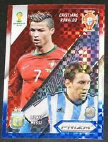 2014 Prizm World Cup Lionel Messi Cristiano Ronaldo Matchups PLAID Red Blue CR7