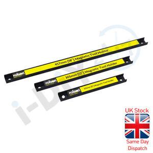"Rolson 3Pc Magnetic Strip Bar Tool Holder Socket Rack Rail Garage 18"" 12"" 8"""