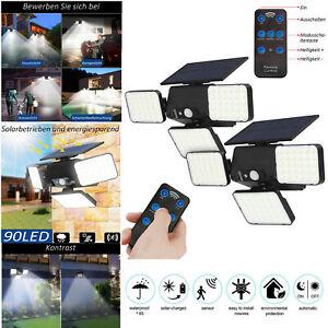 2X Solar Security Lights 3 Heads Motion Sensor 360° Adjustable Spotlights+Remote