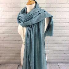 Womens Pashmina Scarf Wrap Shawl Seafoam Blue Polka Dots 10% Linen Woven Fabric