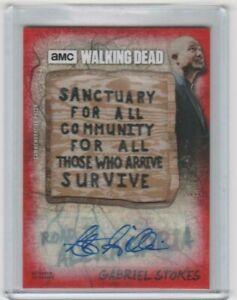WALKING DEAD ROAD TO ALEXANDRIA GABRIEL AUTOGRAPHED SANCTUARY PATCH CARD  1/1!!