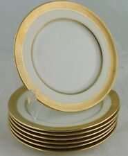 ANTIQUE LENOX IVORY CHINA ENCRUSTED GOLD RIM BREAD/BUTTER PLATE SET 6 GREEN MARK