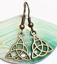 *CELTIC KNOT*_Bronze Charm Earrings_Triquetra Trinity Irish Pagan Wiccan_E136