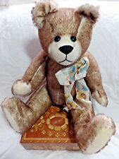 """Winey Bears by Sally Winey 18"""" Signed Brown Bear with Star Heart Ribbon"""