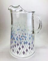 """Vintage Blue White Purple Ombre Diamond Glass Pitcher MCM Lavender Lemonade 9"""""""